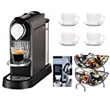 Nespresso Citiz C111 Titanium + Set of 6 Espresso Cups & Saucers Tri Color + Single Serve Coffee Baskets + Urnex Dezcal Home Activated Coffee/ Espresso Descaler