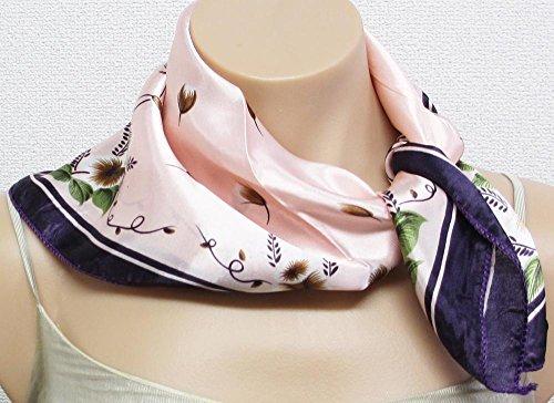 ストール レディース スカーフ フラワー ピンク 50x50  ミニ スカーフ