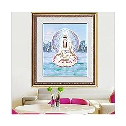 5D Diamond Painting Avalokitesvara Statue Avalokitesvara Sit on Lotus Cross Stitch Living Room Diamond Stitch Round Diamond Figure of Buddha