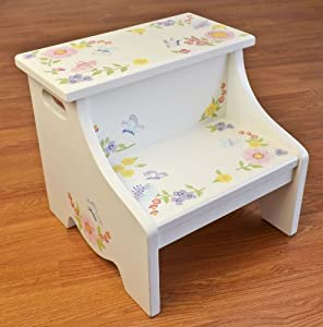 Ukid, Wild Flower Wooden Step Stool, Hand Painted from Ukid