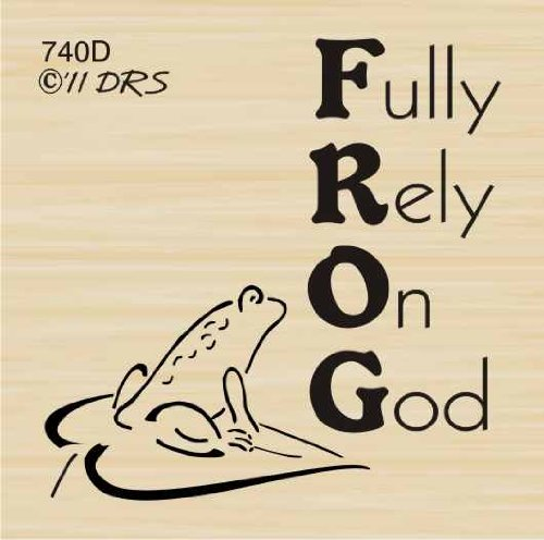 Frog Rely On God Greeting Rubber Stamp By Drs Designs