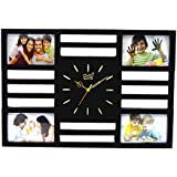 Skynet Plastic Collage 4 In 1 Photo Frame With Clock (50 Cm X 3 Cm X 35, Black)