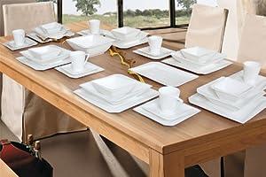 porzellan 38 tlg tafelservice eckig teller set geschirr 6. Black Bedroom Furniture Sets. Home Design Ideas
