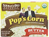Newmans Own Organics Pops Corn, Organic Microwave Popcorn, Butter, 3-Count, 9.9-Ounce Boxes (Pack of 12)