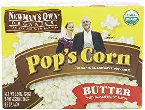 Newman's Own Organics Pop's Corn, Organic Microwave Popcorn, Butter, 3-Count, 9.9-Ounce Boxes (Pack of 12)