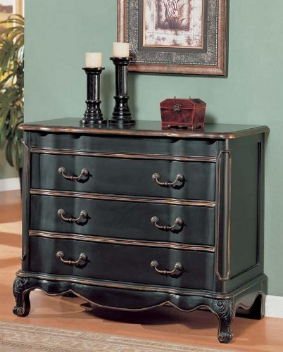 Cheap Console Table Bombe Chest Black & Gold Finish (VF_AM9166)