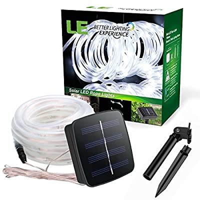 LE LED Solar Rope Lights, 5 Meters, Waterproof, 50 LEDs, 1.2 V, Daylight White, Portable, with Light Sensor, Outdoor Rope Lights, Ideal for Christmas, Wedding, Party