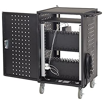 ECR4Kids 30 Bay Locking Laptop/Tablet Charging Station Cart with Keypad Entry, Black