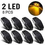 Partsam 8pcs 12V LED Light 2 Diode Smoke Lens/Amber Universal Mount Clearance Side Marker Trailer