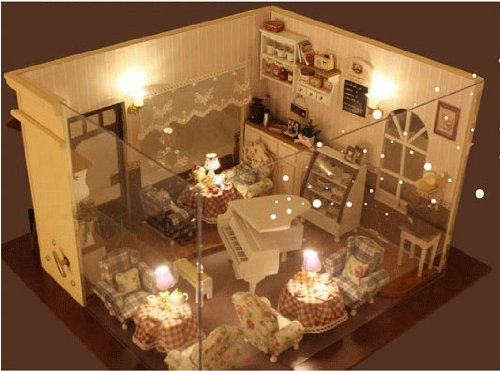 Big Dollhouse Miniature Diy Wood Frame Kit With Light Model Sweet Promise Gift Ldollhouse168-D64