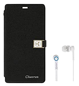 Chevron Royal Armour Flip Cover With Stand Mode for Lenovo A7000 With Chevron 3.5mm White Stereo Earphones (Black)