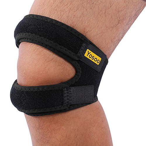 Yosoo Dual Action Patella Knee Strap Adjustable Neoprene Infrapatellar Strap Band Brace For Knee Support Fits Running, Basketball, Outdoor Sports Help With Jumpers And Runners Knee, 11'' - 18'', Black
