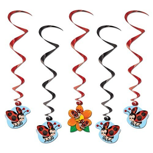 Beistle 57603 5-Pack Ladybug Whirls, 3-Feet 4-Inch