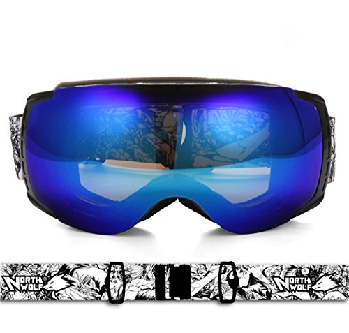 High Performance Ski and Snowboard Goggles Dual Layer Anti-fog Optical Lens | Helmet Compatable with Extra Long Adjustable Strap