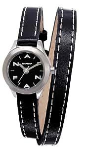 Naf Naf - N10112-203 - Minny - Montre Femme - Quartz Analogique - Cadran Noir - Bracelet Cuir Noir