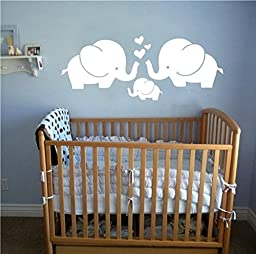 MAFENT(TM)Three Cute Elephant Family With Hearts Wall Decals Baby Nursery Decor Kids Room Wall Stickers, 29.5\'\' x11.5\'\'(White)
