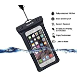 SMARCO Waterproof Dry Bag Case TPU Floating Pouch With Adjustable Strap and Armband, Waterproof, Snowproof, Dustproof, Sandproof for Apple iPhone 6s, 6 Plus -IPX8 Certified to 100Feet (Black)