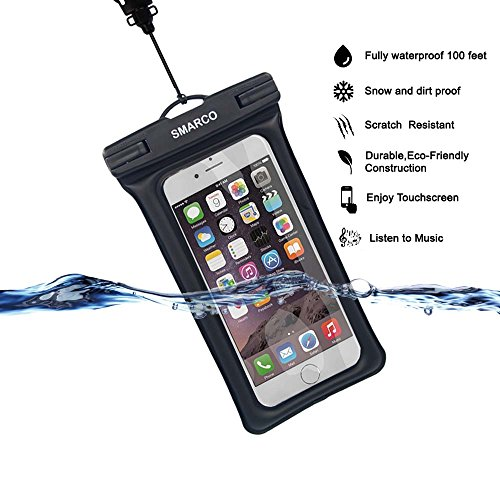 [IPX8 Certified]SMARCO TPU Floating Waterproof Bag With Headphone Jack, Adjustable Strap and Armband, keeping cell phone, Money, Credit cards or car