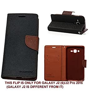 BRAND FUSON(TM) MERCURY GOOSPERY FANCY DIARY WALLET FLIP COVER FOR Samsung Galaxy J2 (6) 2016 / J2 Pro BLACK & BROWN
