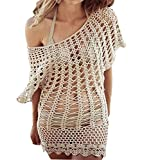 Sexy Beige Fishnet Shirt Top Open Crochet Beachwear Cover Up