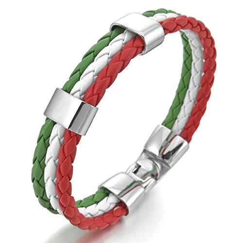 "Kalendone Men's Stainless Steel Genuine Leather Bracelet Bangle Cuff Silver White Green Red Italy Italian flag Braided Gothic Bracelet Biker ,8"""