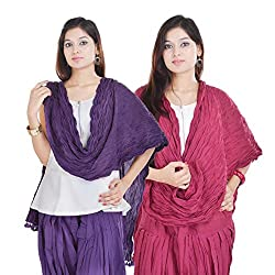 Kalrav Solid Purple and Pink Cotton Dupatta Combo