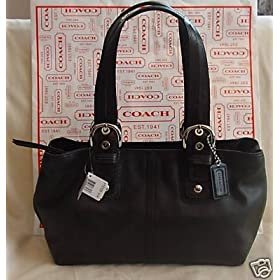 Coach Black Soho Leather Large Tote Handbag Silver 13109