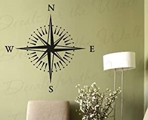 Compass Rose Wall Decal Map Navigator Office Library Vinyl Sticker Art Large