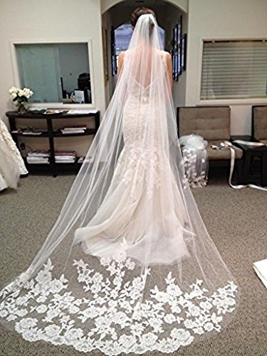 WAJY White Ivory Lace Edge Cathedral Length Wedding Bridal Veil+Comb White