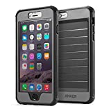 iPhone 6 Plus Case, Anker® Ultra Protective Case With Built-in Clear Screen Protector for iPhone 6 Plus (5.5 inch) Drop-Tested, Dust Proof Design (Black/Grey)