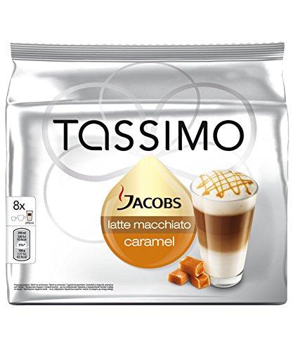 Tassimos Jacobs Latte Macchiato Caramel, Café, Caramel, Café au Lait, Capsules, 16 T-Discs / 8 Portions