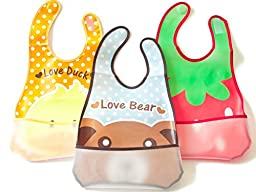 Baby Bibs Waterproof Open Pocket 3-pack Light Easy Clean - Get Goolly Bibs Now!