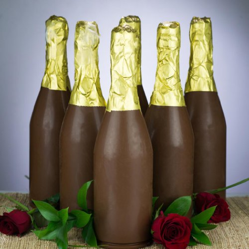 Mother's Day Gift, Giant Premium Milk Chocolate Champagne Bottle (Set of 3) – Gourmet Gift, Unique, Supersized, Chocolate Figure Gift to Celebrate a Friend and Family