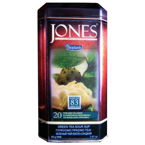 Bioplants Jones Sour Sup Green Tea (Pack of 1, Total 20 Pyramid Teabags)