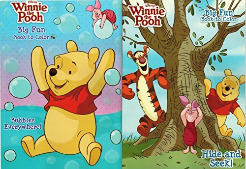 Disney Winnie the Pooh Big Fun Coloring Books 2 Pack Featuring Hide and Seek and Bubbles Everywhere - 1
