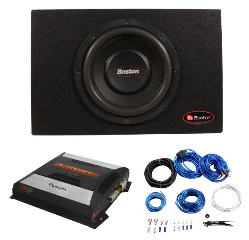 "Package: Boston Acoustics G110ps 10"" 400 Watt Gtuned High Performance Subwoofer Enclosure + Cadence F300-2 700 Watt 2 Channel High Power Car Amplifier + Cadence Wk10 10 Gauge AWG Amplifier Wiring Installation Kit w/ ATC Fuse Holder"