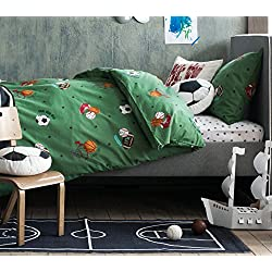 All Stars Sports Boys 2pc Twin Duvet Cover Set 100% Cotton Sketched Sport Football Baseball Basketball Soccer