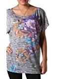 Plus Size Wave Of Gray Floral Top