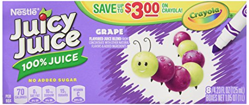 Juicy Juice 100% Juice, Grape, 8-Count/4.23-Ounce Boxes (Pack Of 5) front-124335