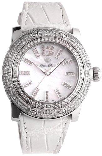 Glam Rock GR80001 - Reloj analógico de cuarzo para mujer, correa de cuero color blanco