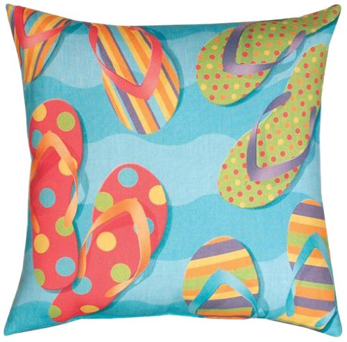 Manual Climaweave Indoor/Outdoor Square Decorative Throw Pillow, 18-Inch, Tropical Flip Flops front-1037963