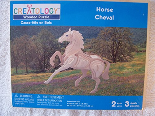 """Creatology Wooden Puzzle Horse Cheval (Assembled 8.86""""x2.36""""x8.35"""")"""