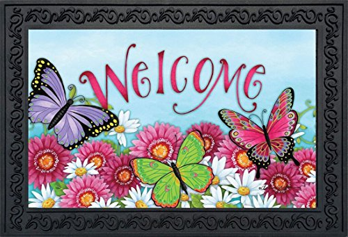 Butterfly Welcome Spring Doormat Floral Indoor Outdoor 18