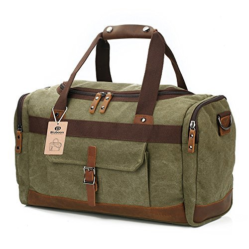 Borsone Viaggio Uomo/ Donna Canvas Weekend Bag Borsoni Tote Vintage Tela (Army Green)