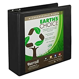 Samsill Earth\'s Choice Biobased View Binder, 3 Ring Binder, 3 Inch, Round Ring, Customizable, Black
