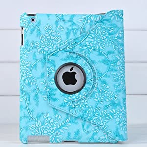 Ctech 360 Degrees Rotating Stand Blue Embossed Flower Luxury Leather Case For Apple Ipad 2 With Smart Cover Wake/sleep Function
