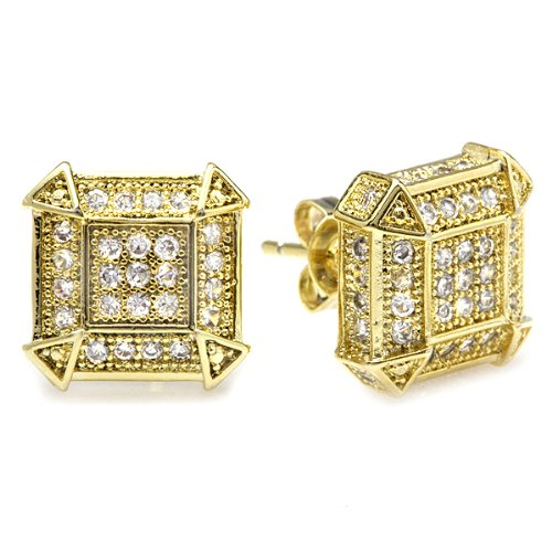 18k Yellow Gold Plated CZ Cubic Zirconia Cube Shaped Hip Hop Iced Cube Stud Earrings (10 mm x 10 mm )