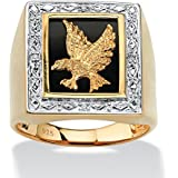 Men's Diamond Accent Genuine Onyx 18k Yellow Gold On Sterling Silver Eagle Ring