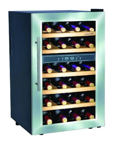 Deluxe 24 Bottles Dual Zone Wine cooler with Wood Shelves