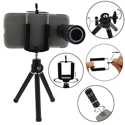 Ancerson 12X Zoom Mobile Telephoto Lens Camera Lens For Samsung Galaxy S5 Sv I9600 With Protective Back Case Cover Shell Skin Universal Mini Tripod Bracket Holder Microfiber Cleaning Cloth